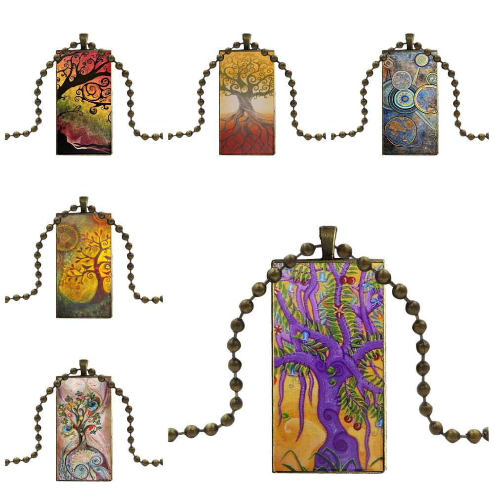 Abstract Crazy Trippy Hippie Marijuanas Design For Unisex Glass Pendant Necklace Handmade Half Pendant Rectangle Necklace image