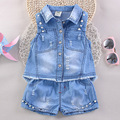 girl child clothing set character denim shorts 2017 summer children's clothing buttons jeans outfit sets with short baby clothes