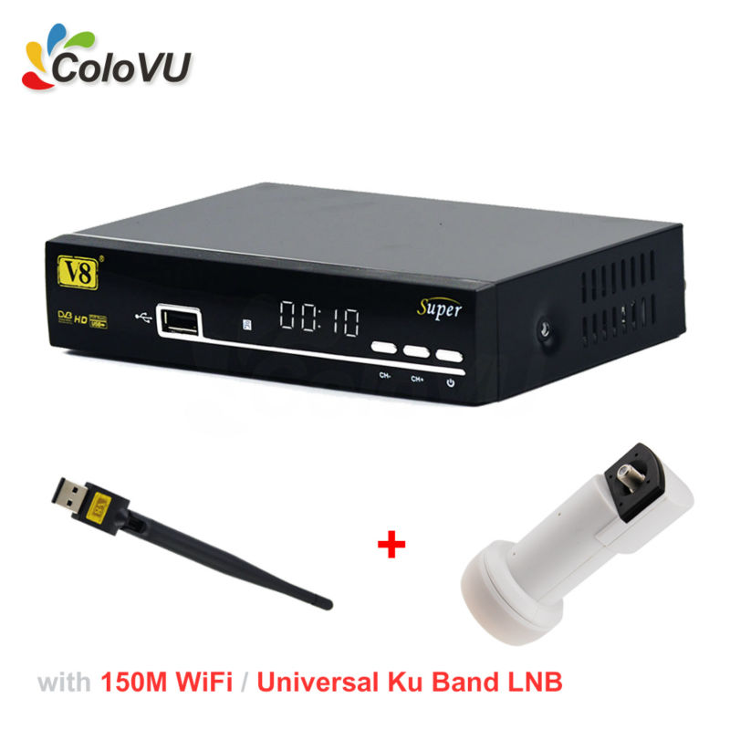 DVB-S/S2 Satellite Receiver FreeSat V8 Super + 150M USB WiFi + Universal Ku Band Single LNB support IPTV CCCam PowerVU Biss DRE wholesale freesat v7 hd dvb s2 receptor satellite decoder v8 usb wifi hd 1080p support biss key powervu satellite receiver