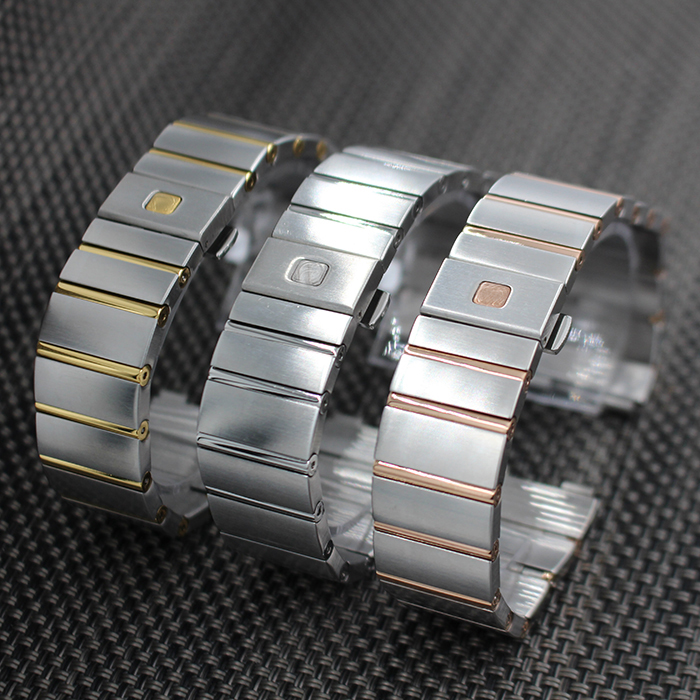 ФОТО 18mm 23mm 25mm Stainless Steel Watchband Curved End WatchStrap Men Women Watch Band Butterfly Buckle Belt for Omega DOUBLE EAGLE