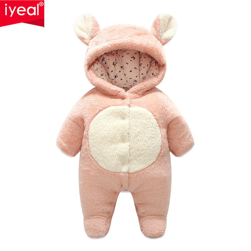IYEAL Winter Baby Rompers Long Sleeve Warm Coral Fleece Hoodies Overalls Newborn Toddler Infant jumpsuits Children Outwear