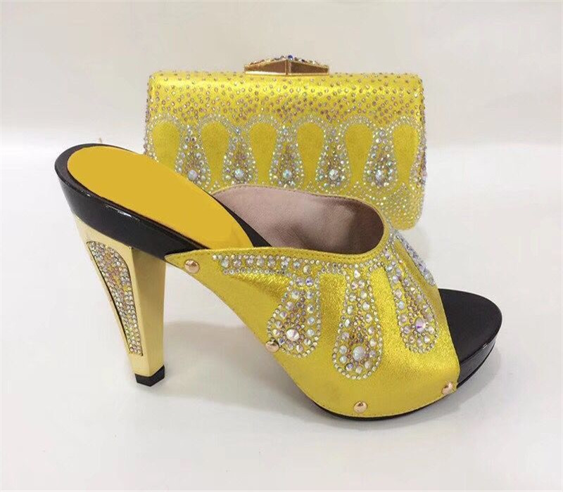 Itlian Style Rhinestone Slipper Shoes And Matching Bag Set New Africa High Heels Shoes And Bag Set For Party Size 38-43
