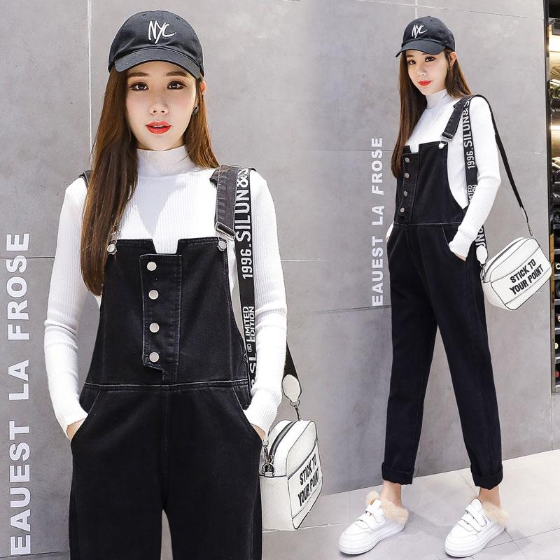 9019# Autumn Korean Fashion Black Denim Maternity Jumpsuits Straight Casual Overalls Jeans for Pregnant Women Pregnancy Pants