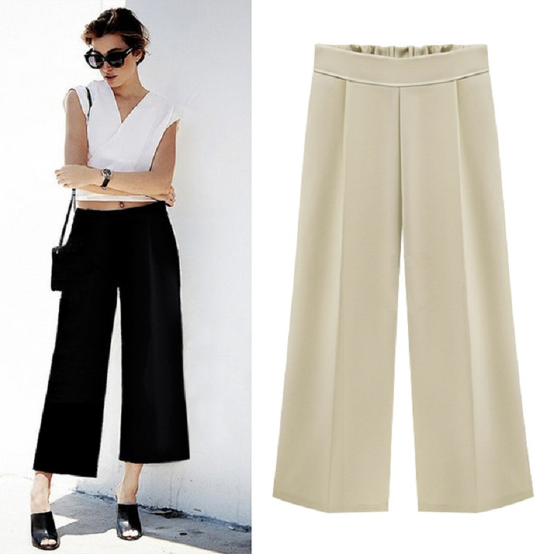 Women Chiffon   Wide     Leg     Pants   Casual Loose Hight Waist Plus Size Ankle Length Trousers Female Ladies 5XL 6XL Office Wear Culottes