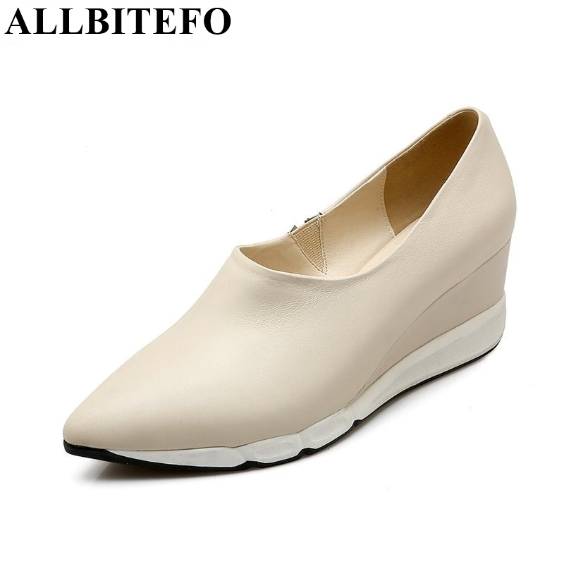 ALLBITEFO fashion wedges pointed toe genuine leather women pumps platform High quality casual high heel shoes ladies shoes woman hot sale square toe full genuine leather charm design platform women pumps platform fashion casual party shoes ladies shoes