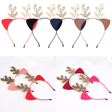 Christmas antlers headband cat ears cartoon haircard Merry Ornaments Party Decorations