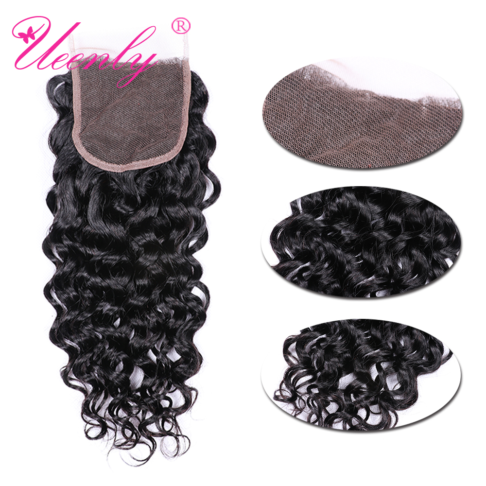 UEENLY Lace Closure Water-Wave Human-Hair-Extension Non-Remy Brazilian 130%Density 4x4