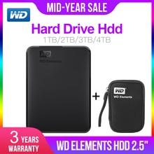 Жесткий диск Western Digital WD элементы 2,5 «Портативный 1 ТБ 2 ТБ 3 ТБ 4 ТБ USB3.0 внешний жесткий диск Hdd Disco Duro Externo Disque Портативный