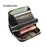 SHUNRUYAN RFID Cow Leather Litchi Pattern 10 Card Slot Double Zipper Bank Credit Holder Business Wallet