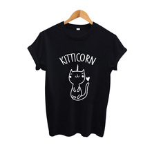Cute Cat T-Shirt Kitticorn Kitty Kitten T-Shirt Women Funny Graphic T-shirt Women I Love Pet