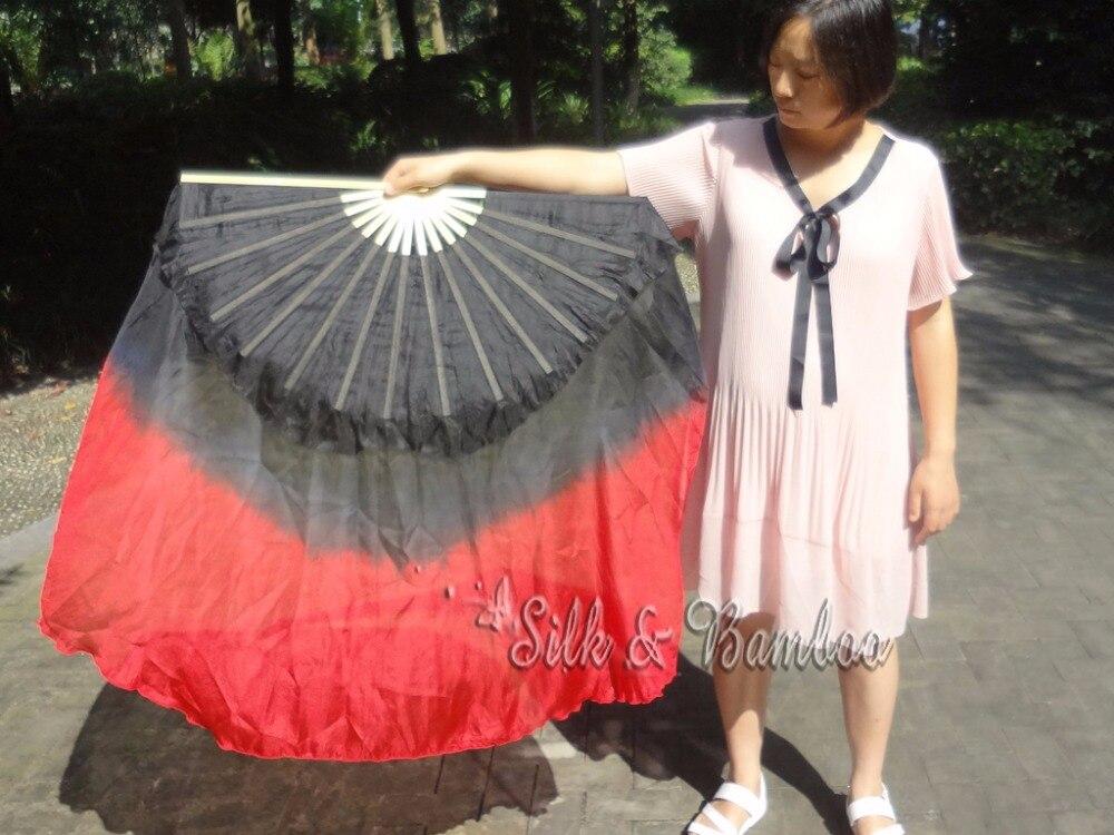 1 Pc Rechterhand Zwart-rood 40 Cm Bamboe + 60 Cm Zijde Chinese Dance Zijde Fan (flutter ), Real Flowy Zijde! Met De Beste Service