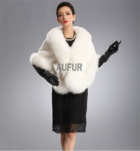 Real Mink Fur Shawl with Fox Fur Collar White Fur Wrap Bridal Fur Poncho Dress Evening Wrap Coat AU00404