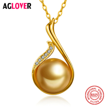 925 Sterling Silver Necklace Charm Women 10mm Natural Pearl Pendant AAA Crystal Fashion Female Jewelry