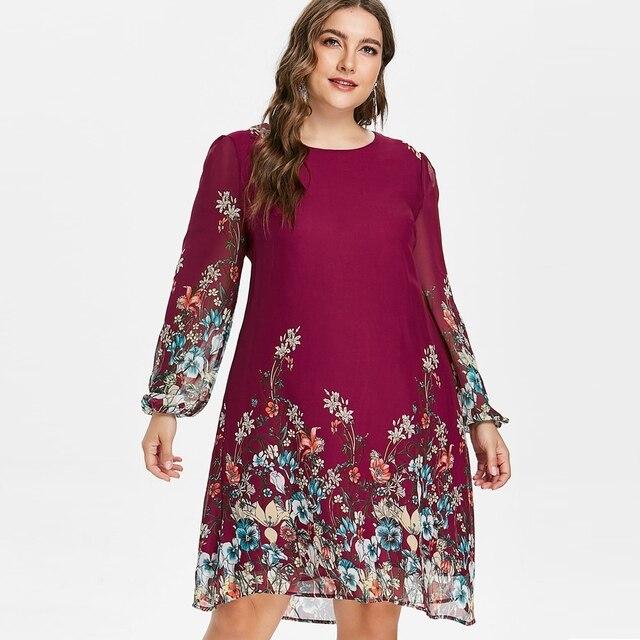 Wipalo плюс Размеры 5XL Цветочный принт шифоновое платье Новинки для женщин осень Повседневное платье с длинным рукавом Женские платья весна Женская одежда