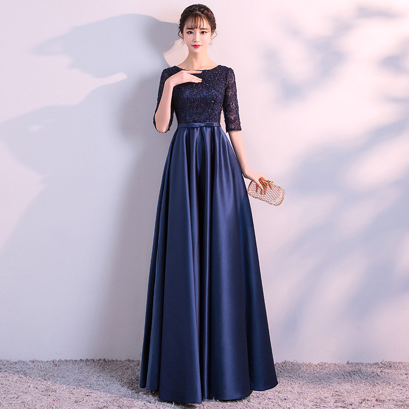 Navy Blue Noble Women Satin Half Sleeve Lace Dress Sexy Slim Full Length Evening Party Dresses