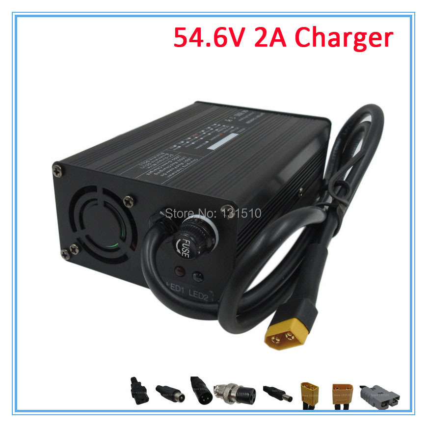 54.6V 2A Li ion Battery charger With fan 48V 2A charger for 48V 13S 10AH 15AH 20AH 30AH Lithium bicycle electric bike battery