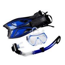 Establece Submarino de Buceo Equipo de buceo Máscara de Buceo Snorkel Seca Completa Gel Miopía gafas de Buceo Máscara de Buceo + Snorkel + Aletas