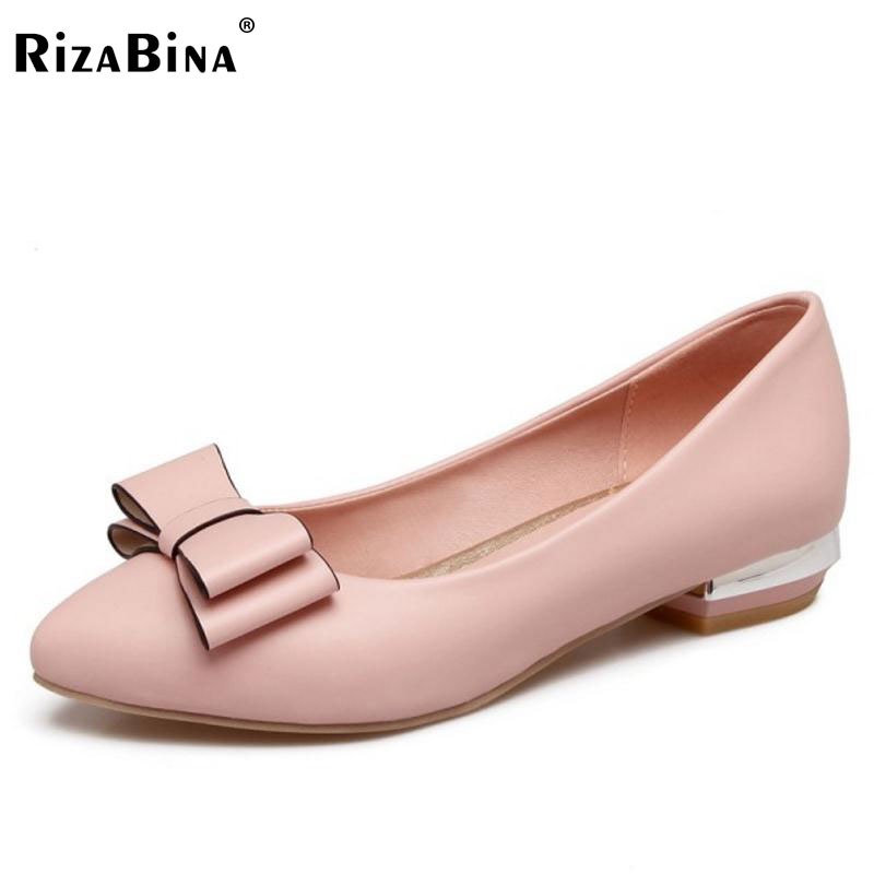 RizaBina Women High Heel Shoes Women Solid Color Bowknot Slip On Heels Pumps Ladies Daily Preppy Chic Laides Footwear Size 31-43 2017 shoes women med heels tassel slip on women pumps solid round toe high quality loafers preppy style lady casual shoes 17