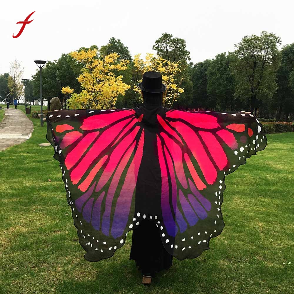 KLV 2017 new arrival women Chiffon bandana scarf Soft Fabric Butterfly Wings Shawl Fairy Ladies Nymph Pixie Costume Accessory