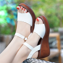 Big Size 33-43 Genuine Leather Shoes Woman Summer 2018 Platform Sandals Ladies Wedge Heels Leather Sandals Women Beach Shoe