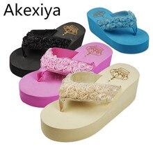 Akexiya 2017 Women Sandals  handmade rose Flowers Wedges Summer Sandals Women platform Trifle Beach Flip Flops Women Shoes