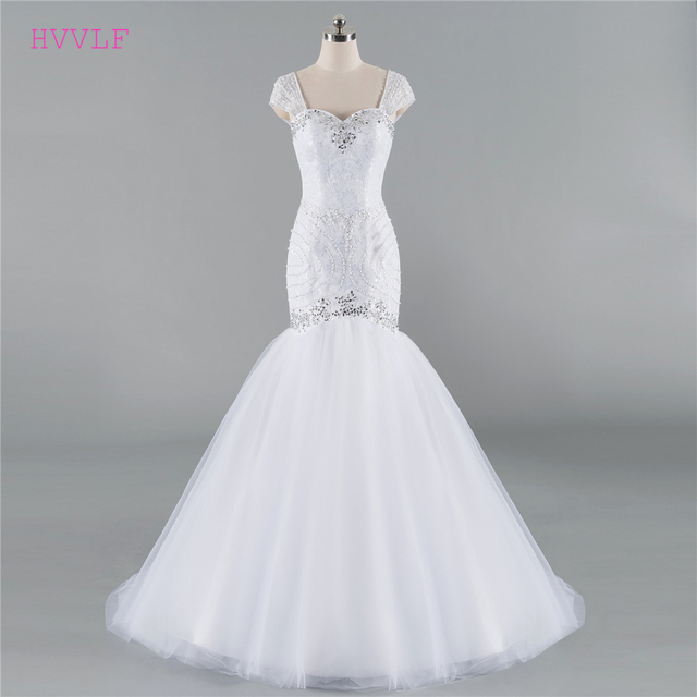 c2f7d4b78f25b Plus Size Vestido De Noiva 2018 Wedding Dresses Mermaid Cap Sleeves Tulle  Beaded Crystal Boho Cheap Wedding Gown Bridal Dresses