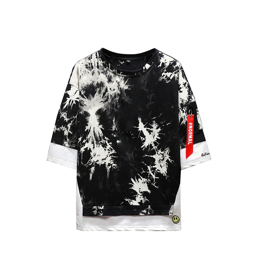 2019 New Hot Men Summer New Style Fashion Printed Tie-Dyed Fake Two Comfortable Top M-5XL Instyle Vetements de mode pour hommes 11