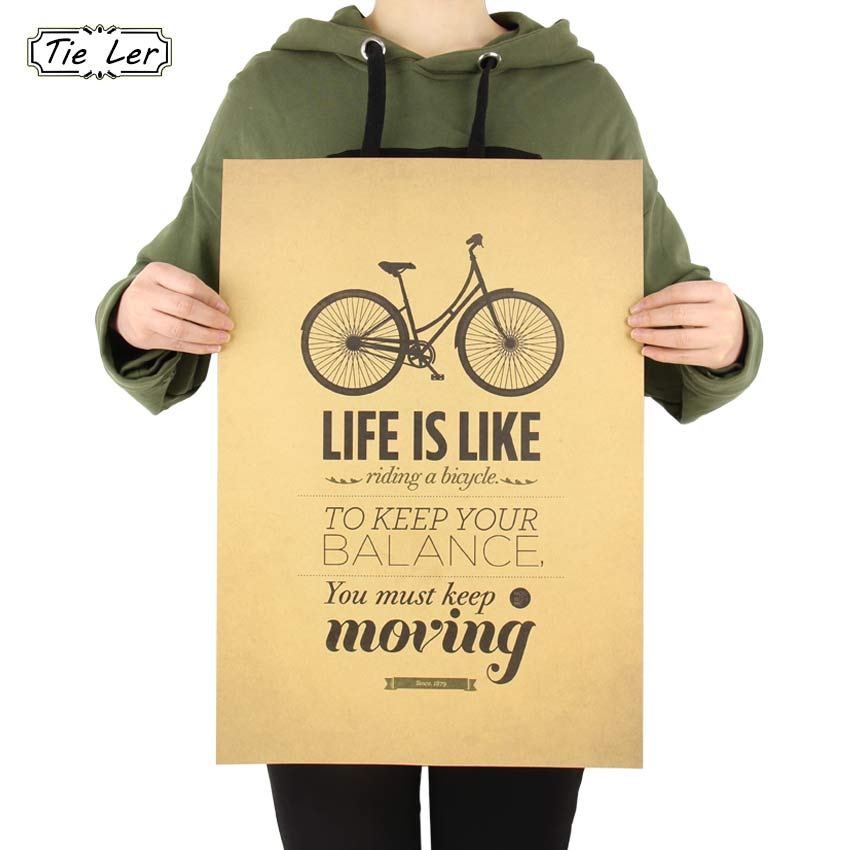 Tie Ler Life Is Like Riding A Bicycle Poster Cafe Bar Home Decor Retro Kraft Paper