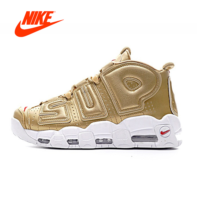 все цены на Original New Arrival Authentic Nike Air More Uptempo x Supreme Men's Comfortable Basketball Shoes Outdoor Sneakers 902290-700