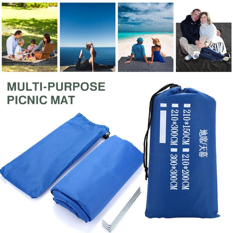 Picnic Mat Camping Carpet Travel Rugs Folding 210*150cm 210D Beach Mattress Lawn Floor Pad First Aid
