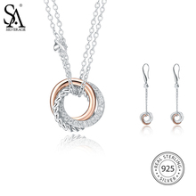 SA SILVERAGE Drop Dangle Earrings for Women Fine Jewelry 925 Sterling Silver Jewelry Sets AAA Zirconia Necklaces Round Silver silverage real 925 sterling silver star jewelry sets for women fine jewelry star necklaces couple jewelry wedding gifts