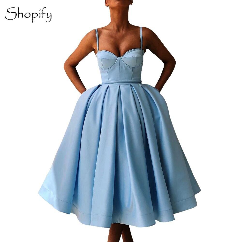 Simple Light Blue Short Evening Dress 2018 Sweetheart Spaghetti Strap Puffy  A-line Arabic Style 489cc8b74543