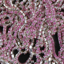 ZOTOONE SS10 1Yard Rhinestones for Clothing Stones Pink Crystals Cup Chain Rhinestone Trim Sew on Ornament Bags Accessories E