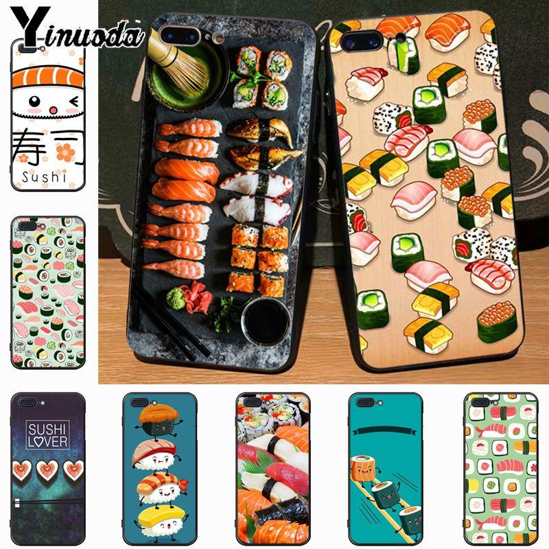 Yinuoda Japanese cuisine Sushi food black soft tpu Silicone phone case for  iPhone 7plus 6S 6plus 114cd8c9e871