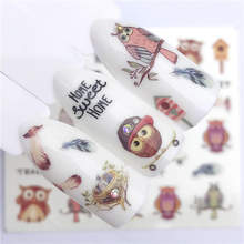 WUF 1 PC Owl Series/Flower Series Water Transfer Sticker Nail Art Decals DIY Fashion Wraps Tips Manicure Tools(China)