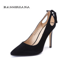High heels shoes woman 2017 Genuine suede leather women Pumps Thin Spike Heel Pointed Toe Spring Free shippinng BASSIRIANA(China)