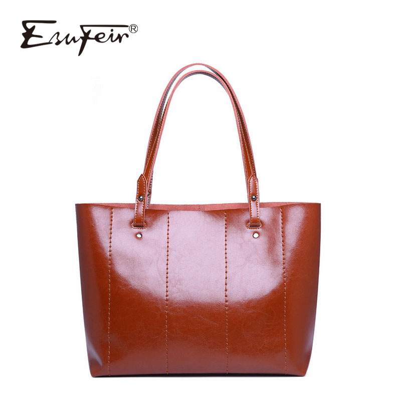 ESUFEIR 2018 Genuine Leather Women Handbag Vintage Crossbody Bag Fashion Shoulder Bag Designer Tote Ladies Large Capacity Bag esufeir genuine leather handbag for women fashion brand designer shoulder bags cow leather crossbody bag ladies trapeze tote bag