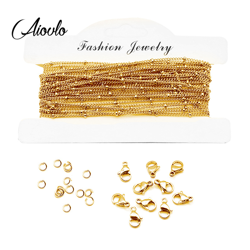 Aiovlo 5M/lot 1mm Clip Beads Stainless Steel Cross Chain And Lobster Clasp DIY Necklaces Bracelets Jewelry Making Woman Pendant