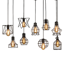 Modern minimalist bird cage wrought iron Pendant Lights retro Nordic attic pyramid lamp metal chandelier E27 LED lamp