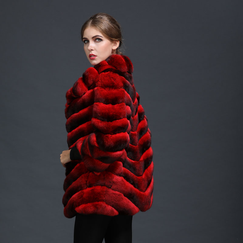 Mme À Usure De Soie Chinchilla Dames Fourrure Rouge Partie Luxe Hiver Naturel Chinois L'intérieur Manteau Femmes AqwfTO