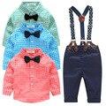 CALIENTE de la manera ropa de los cabritos camisa de rejilla + suspender ropa de recién nacido de manga Larga del bebé Del Bowknot traje de caballero
