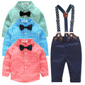 HOT fashion kids clothes grid shirt + suspender newborn Long sleeve baby boy clothes Bowknot gentleman suit