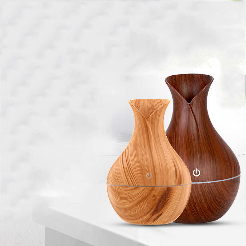 saengQ USB Wood Grain Essential Oil Diffuser Ultrasonic Humidifier Household Aroma Diffuser Aromatherapy Mist Maker with LED