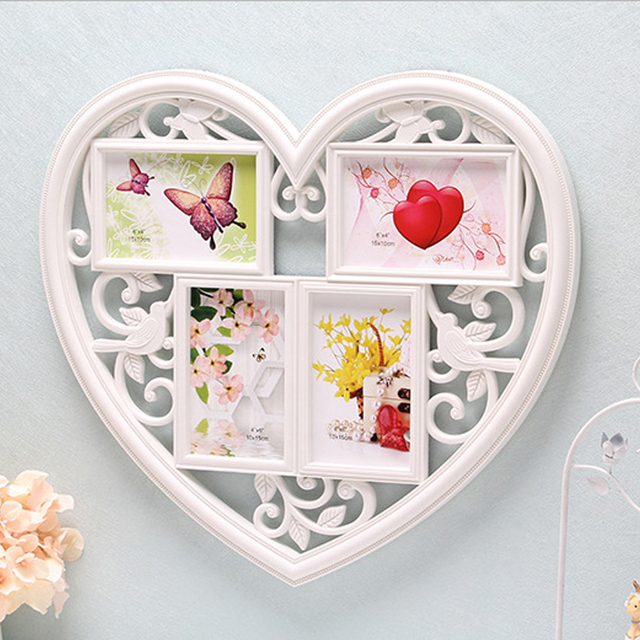 HOME Collage Wall Frame Heart Shape Fit Four 4x6inch Photo or ...