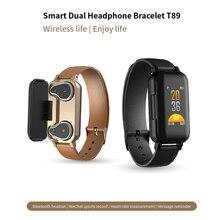 T89 TWS Smart Binaural Bluetooth Headphone Fitness Bracelet Heart Rate Monitor Smart Wristband Sport Watch For IOS Android Phone цены онлайн