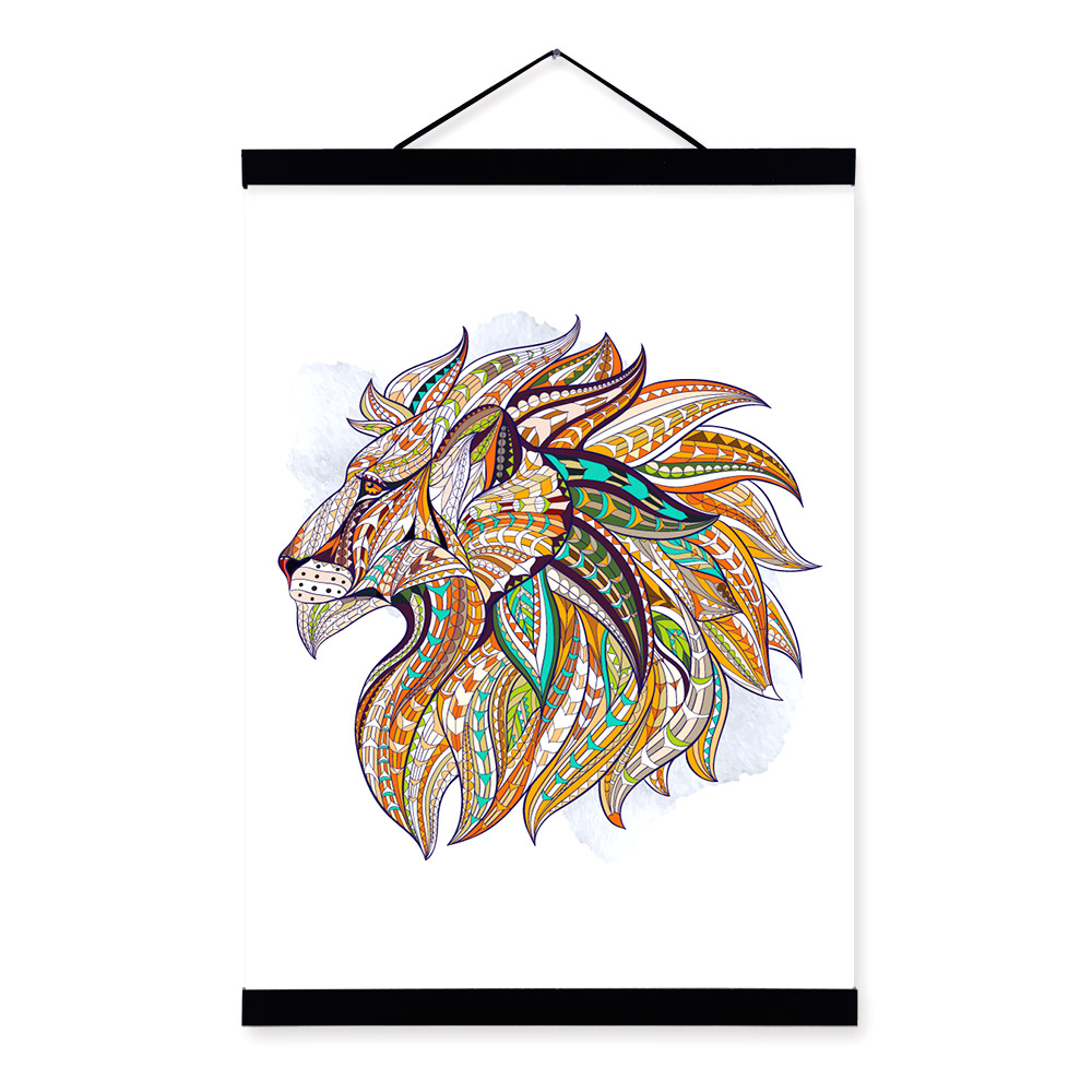 Modern Ancient <font><b>African</b></font> National Animals Lion Head Totem A4 Framed Canvas Painting Wall Art Prints Picture Poster <font><b>Home</b></font> <font><b>Decoration</b></font>