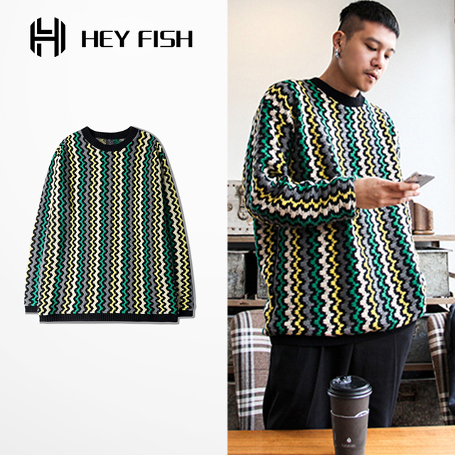 PROVERGOD Wholesale New Hip Hop Mens Pullover Knitted Sweater Winter Warm O Neck Long Sleeve Wave Stripe Knitwear Oversize