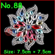 3Pcs/Lot Hot Fix Rhinestone Iron On Heat Transfer Crystal Motif Color Flower Diy women phone Patche Applique DIY Garment