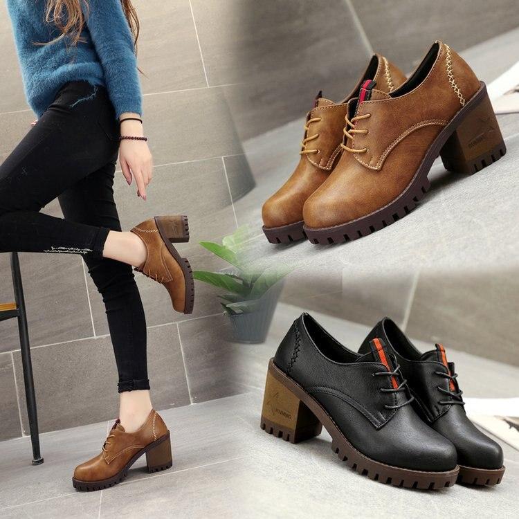 Carrés Chaussures Rond 2018 Bout De 3126 Britannique Printemps Pompes Nouveau 8 Femmes forme Des Style Talons Cm Plate Simples T3lK1uc5FJ
