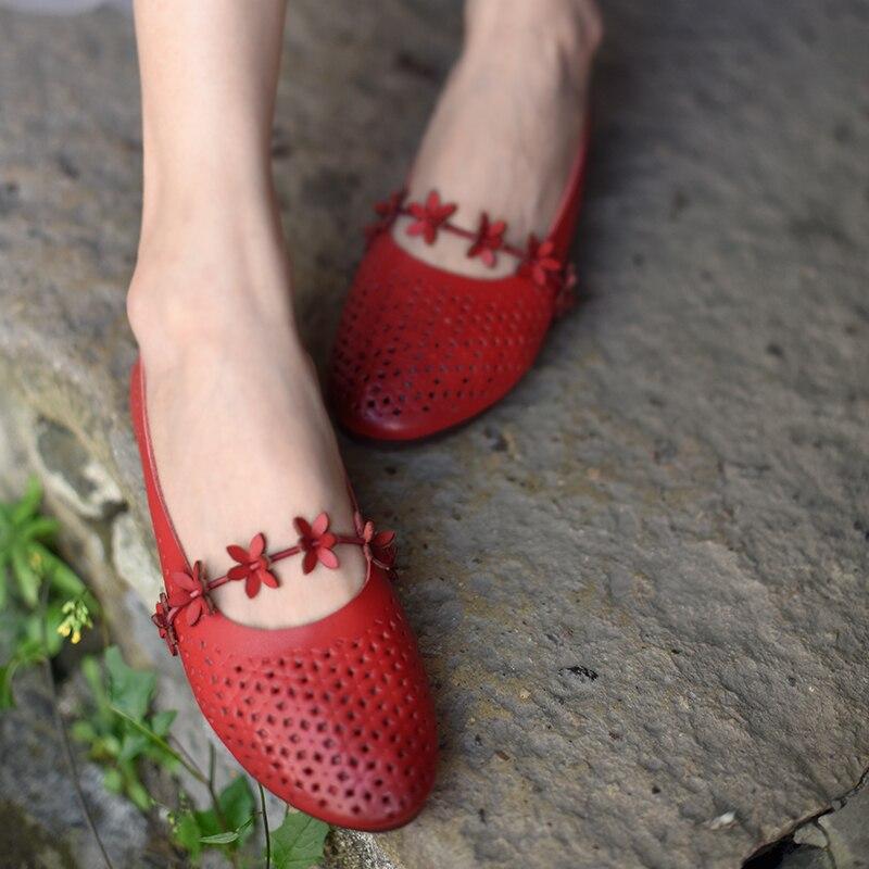 Vestir Cuero A Original Las Hechos Mano caqui Señora Rojo Artmu Genuino Hueco Zapatos Mujer Sandalias Mujeres De SqOdTOFP